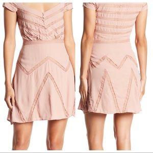 Free People Elle Mini Dress Romantic Lace Insert